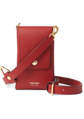 TOM FORD - Full-Grain Leather Phone Pouch - Men - Red