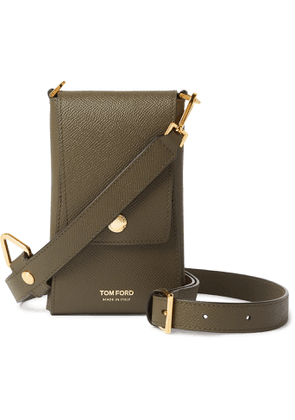 TOM FORD - Full-Grain Leather Phone Pouch - Men - Green