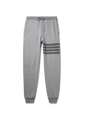Thom Browne - Tapered Striped Loopback Cotton-Jersey Sweatpants - Men - Gray