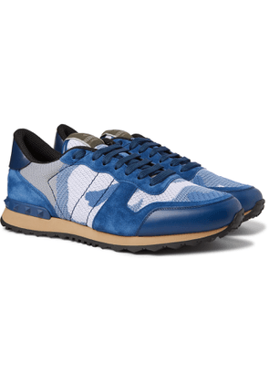Valentino - Valentino Garavani Rockrunner Camouflage-Print Mesh, Leather and Suede Sneakers - Men - Blue