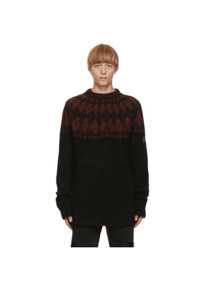 Raf Simons Black and Purple Wool Sweater