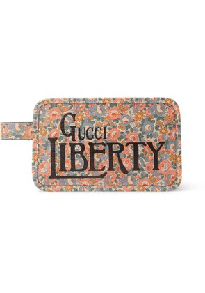 GUCCI - Liberty Printed Leather Wash Bag - Men - White