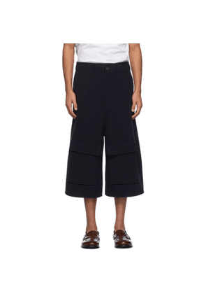 Loewe Navy Wool and Cashmere Shorts