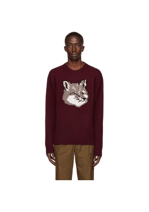 Maison Kitsune Burgundy Wool Jacquard Fox Head Sweater