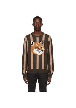 Maison Kitsune Tan and Khaki Wool Stripes Fox Head Sweater