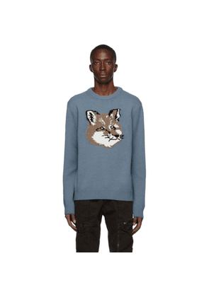 Maison Kitsune Blue Wool Jacquard Fox Head Sweater