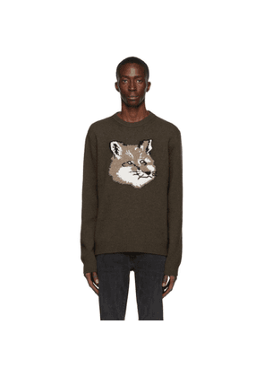 Maison Kitsune Khaki Wool Jacquard Fox Head Sweater