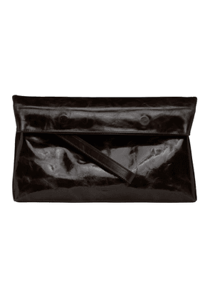 Ann Demeulemeester Brown Polished Leather Folded Clutch