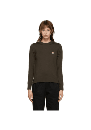 Maison Kitsune Brown Merino Fox Head Sweater