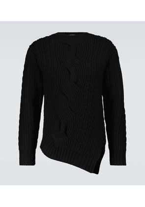 Asymmetric wool and cashmere sweater