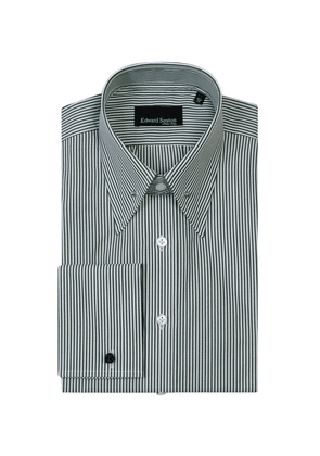Green and White Cotton Bengal Stripe Pin-Collar Shirt With Double Cuffs
