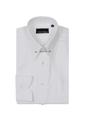 White Cotton Pin-Collar Shirt with Button Cuffs