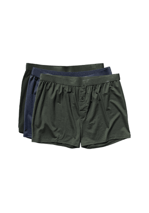 Black, Green and Blue Lyocell Boxer Shorts 3-Pack