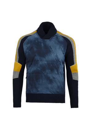Navy and Dijon Lambswool Alpine Combined Down-Filled Knit