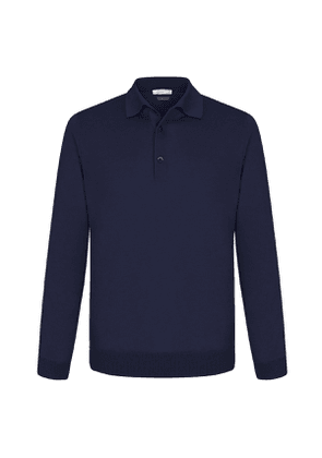 Navy Cashmere and Silk Polo Shirt