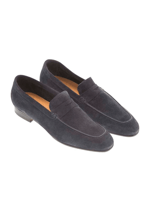 Blue Suede Aria Milano Penny Loafers