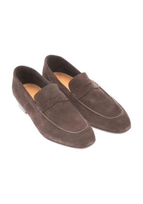 Brown Suede Aria Milano Penny Loafers
