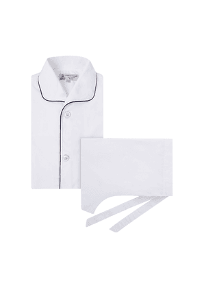 White Cotton Pyjama Set with Contrast Piping