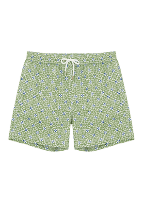 Green and Ecru Heart-Print Swim Shorts