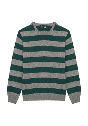 Grey and Green Wool Striped Round Neck Sweater