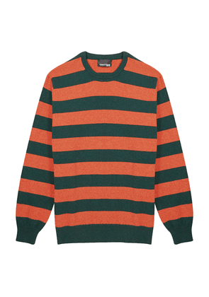 Orange and Green Merino Round Neck Sweater