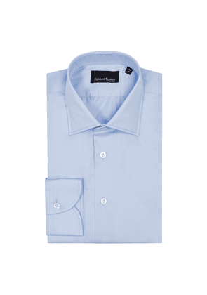 Blue Slim Fit Cotton Shirt with Classic Collar