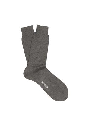 Grey and Navy Spotted Egyptian Cotton Mid-Calf Socks