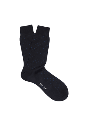 Navy and Blue Spotted Egyptian Cotton Mid-Calf Socks