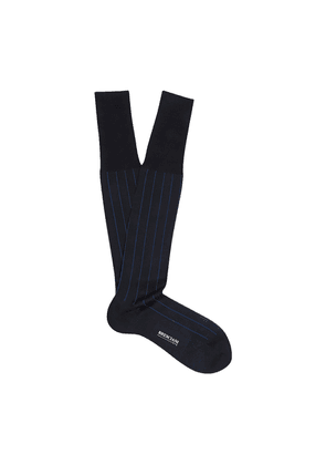 Navy and Blue Pinstriped Egyptian Over-the-Calf Cotton Socks
