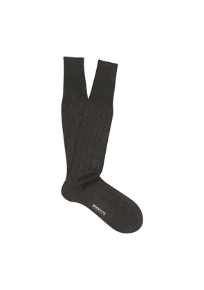Grey and Black Pinstriped Egyptian Over-the-Calf Cotton Socks