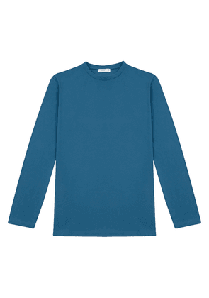 Blue Cotton Long-Sleeve T-Shirt