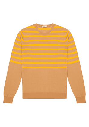 Yellow Striped Brown Cotton Crew Neck Sweater