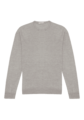 Grey Silk Crew Neck Sweater