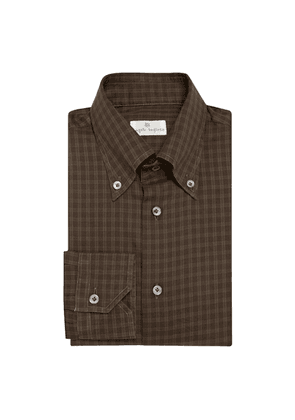 Brown Faded Window Check Cotton Shirt