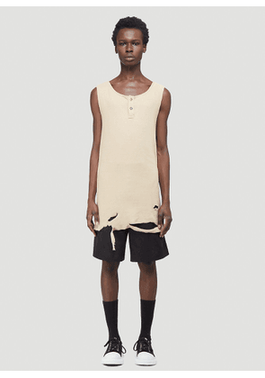 Youths In Balaclava Distressed Vest Top in Beige