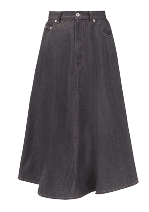 Loewe - Pleated-back Cotton-denim Skirt - Womens - Denim