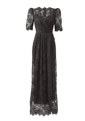 Dolce & Gabbana - Puff-sleeve Cotton-blend Chantilly-lace Gown - Womens - Black