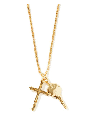 Emanuele Bicocchi - Cross And Key 24kt Gold-plated Necklace - Mens - Gold