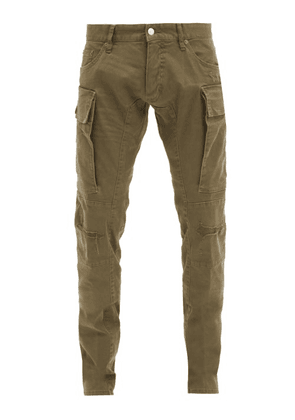 Dsquared2 - Distressed Cotton-blend Slim Cargo Trousers - Mens - Green