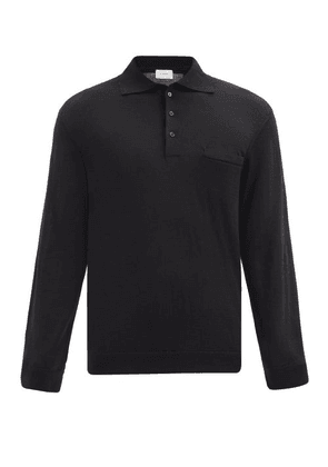 Lemaire - Wool-blend Long-sleeved Polo Shirt - Mens - Black