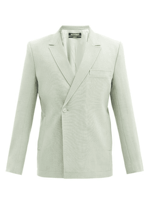 Jacquemus - Moulin Double-breasted Wool-blend Canvas Blazer - Mens - Light Green