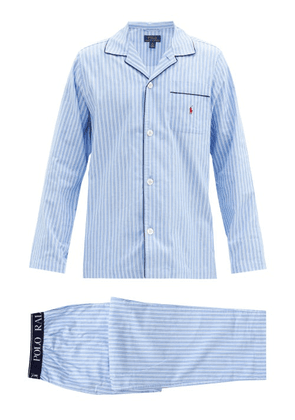 Polo Ralph Lauren - Logo-embroidered Striped Cotton Pyjama Set - Mens - Light Blue
