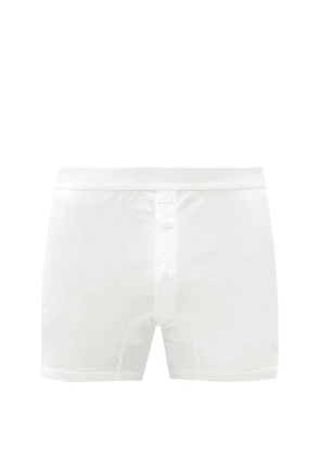 Sunspel - Buttoned Superfine-cotton Boxer Briefs - Mens - White