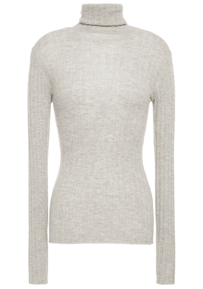 Autumn Cashmere Mélange Ribbed Cashmere And Silk-blend Turtleneck Sweater Woman Light gray Size L