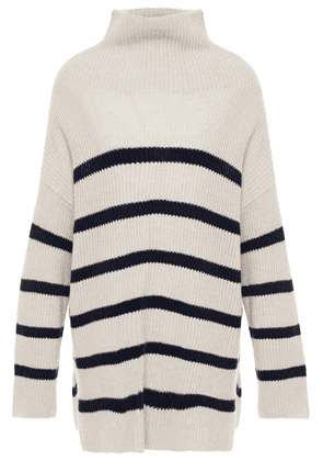Autumn Cashmere Striped Ribbed Cashmere Turtleneck Sweater Woman Beige Size M