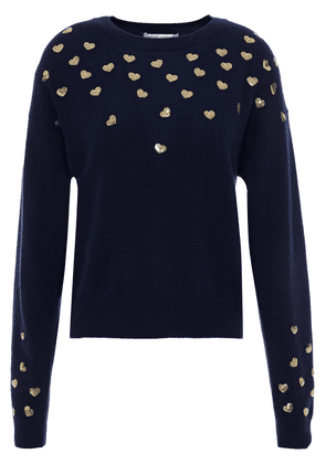 Autumn Cashmere Sequin-embellished Cashmere Sweater Woman Navy Size M