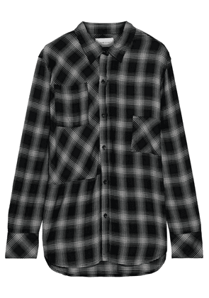Current/elliott The Patchwork Project Checked Flannel Shirt Woman Black Size 1