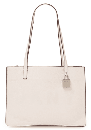 Dkny Commuter Medium Logo-embossed Pebbled-leather Tote Woman Pastel pink Size --