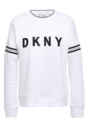 Dkny Embroidered Striped French Cotton-blend Terry Sweatshirt Woman White Size XL