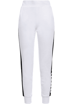 Dkny Printed French Cotton-blend Terry Track Pants Woman White Size S